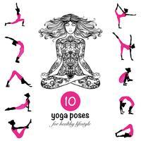 Yoga posa cartaz de composição de pictogramas de asanas vetor