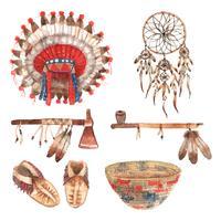 Pictogramas de objetos nativos americanos conjunto aquarela