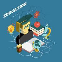 Bandeira isométrica de conceito de leitura de educação
