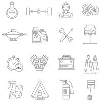 Linha de ícones de serviço de carro