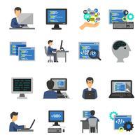 Conjunto de ícones do programador plano vetor