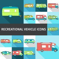Ícones lisos de veículo recreacional vetor