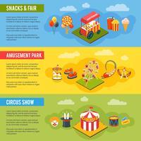 Conjunto de bandeiras plana de conceito de circo de carnaval vetor