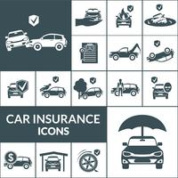 Ícones de seguro de carro preto vetor
