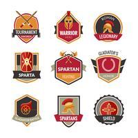 Conjunto de emblemas de gladiador vetor
