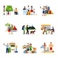 Conjunto de imagens de opções de férias vetor