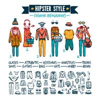 Bandeira de doodle infográfico de vestuário de moda hipster