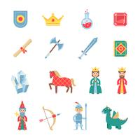Conjunto de ícones plana de símbolos de jogos medievais vetor