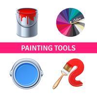 Conjunto de ferramentas de pintura realista vetor