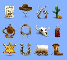 Conjunto de ícones do velho oeste vetor