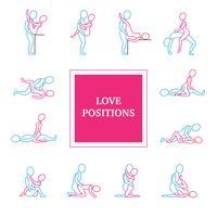 Conjunto de ícones de posições de amor vetor