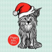 Cão no chapéu do Natal