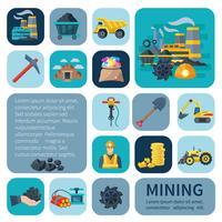 Conjunto de ícones de mineração plana