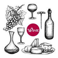 Mão desenhada vinho conjunto vetor