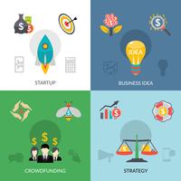 Startup crowdfunding 4 bandeira quadrada plana vetor