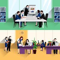 Cartaz de composição de banners plana de escritório de negócios