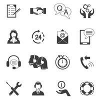 Conjunto de ícones de suporte ao cliente preto e branco