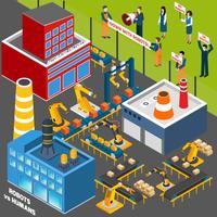 Humanos contra a indústria de automação vetor