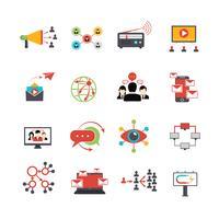 Conjunto de ícones plana de técnica de marketing viral vetor