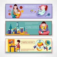 Conjunto de Banner de nutrição de bebê vetor
