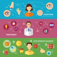Sintomas de alergia Tratamento Médico Banners Horizontais vetor