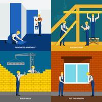 Construção de edifício 4 ícones lisos quadrados vetor