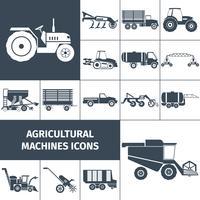 Conjunto de ícones brancos pretos de maquinaria agrícola