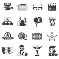 Conjunto de ícones de filme preto