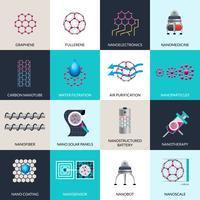 Conjunto de ícones plana de produtos de aplicações de nanotecnologia