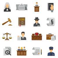 Conjunto de ícones de lei plana vetor
