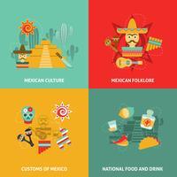 Conjunto de ícones mexicanos vetor
