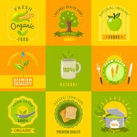 Conjunto de ícones plana de emblemas de comida natural vetor