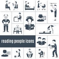 Conjunto de ícones de pessoas de leitura vetor