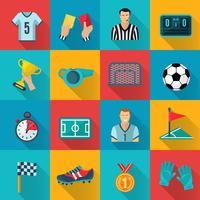 Conjunto de ícones plana de futebol vetor