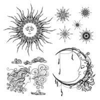 Estrelas Lua E Vento vetor