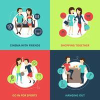 Conjunto de ícones de conceito de amigos vetor