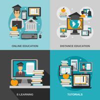 Conjunto plano de e-learning vetor