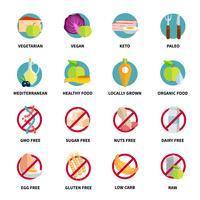 Conjunto de ícones de dietas vetor