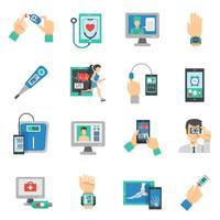 Conjunto de ícones de saúde digital plano