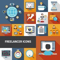 Conjunto de ícones de freelancer vetor