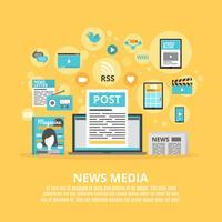Cartaz de composição de ícones plana de mídia de notícias vetor