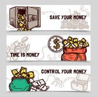 Conjunto de bandeiras financeiras de gerenciamento de tempo doodle vetor