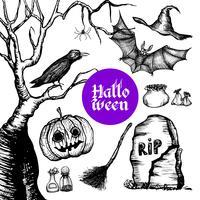 Conjunto de mão desenhada de Halloween vetor