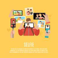 Selfie fotos cartaz de composição de ícones plana vetor