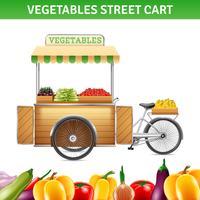 Ilustração de carrinho de rua de legumes vetor