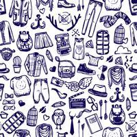 Roupas de moda hipster doodle padrão sem emenda vetor