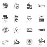 Conjunto de ícones de filme preto vetor