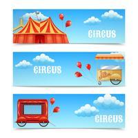 Três banners de circo horizontal vetor