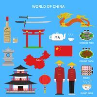 Conjunto de ícones de China vetor