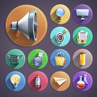 Marketing digital plana rodada conjunto de ícones vetor